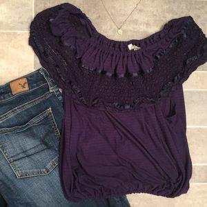 FREE PEOPLE 💜 Purple Stripped Crochet Top
